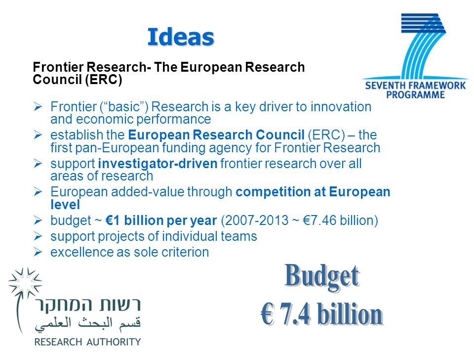 "Ideas Frontier Research- The European Research Council (ERC)  Frontier (""basic"") Research is a key driver to innovation and economic performance  es"