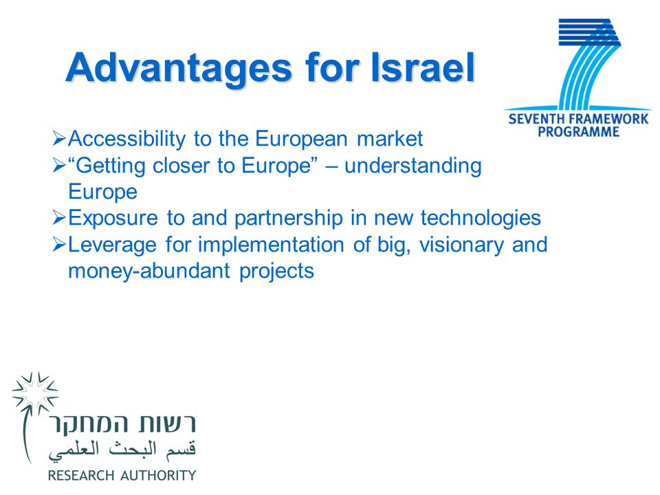 "Advantages for Israel  Accessibility to the European market  ""Getting closer to Europe"" – understanding Europe  Exposure to and partnership in new"