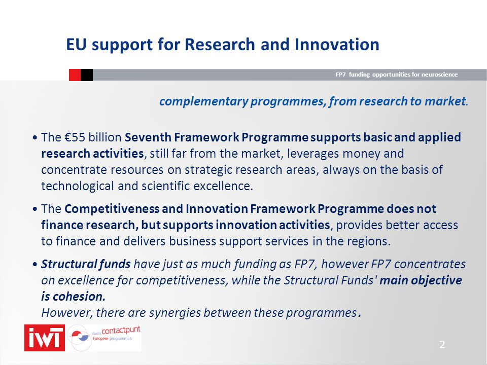 FP7 funding opportunities for neuroscience Cooperation FP7 Structure and Budget Ideas (European Research Council) EC Framework Programme is delineated into four Specific Programmes; total budget of € 50.52 billion People Capacities Cooperation 32,413* 7,51 Ideas People 4,75 Capacities 4,097 Euratom 4,061 JRC (EC) 1,751 *of which Health € 6.1 billion Total FP7 budget, including EURATOM: € 54,582 billion