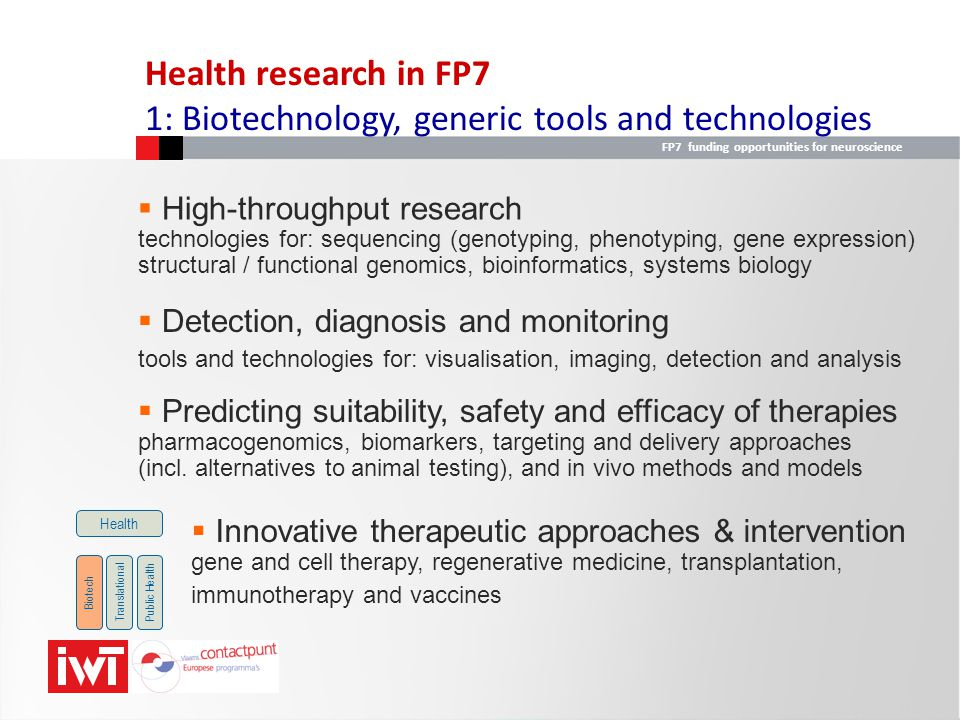 FP7 funding opportunities for neuroscience  Integrating biological data and processes large-scale data gathering: generate data to elucidate the function of genes and gene products and their interaction in complex networks systems biology: to develop and apply systems approaches to understand and model biological processes BiotechTranslationalPublic Health Health  Research on the brain and related diseases to better understand the integrated structure and dynamics of the brain, and to study brain diseases, incl age-related ones: dementia, Parkinson  Human development and ageing to better understand the process of life-long development and healthy ageing Health research in FP7 2: Translating research for human health (1)