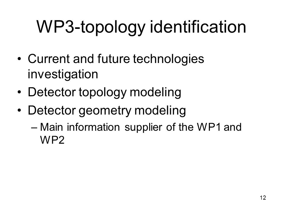 12 WP3-topology identification Current and future technologies investigation Detector topology modeling Detector geometry modeling –Main information supplier of the WP1 and WP2