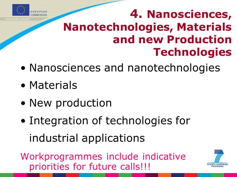 4. Nanosciences, Nanotechnologies, Materials and new Production Technologies Nanosciences and nanotechnologies Materials New production Integration of