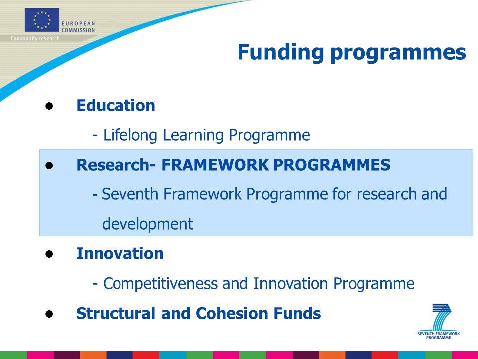 Funding programmes l Education - Lifelong Learning Programme l Research- FRAMEWORK PROGRAMMES - Seventh Framework Programme for research and developme