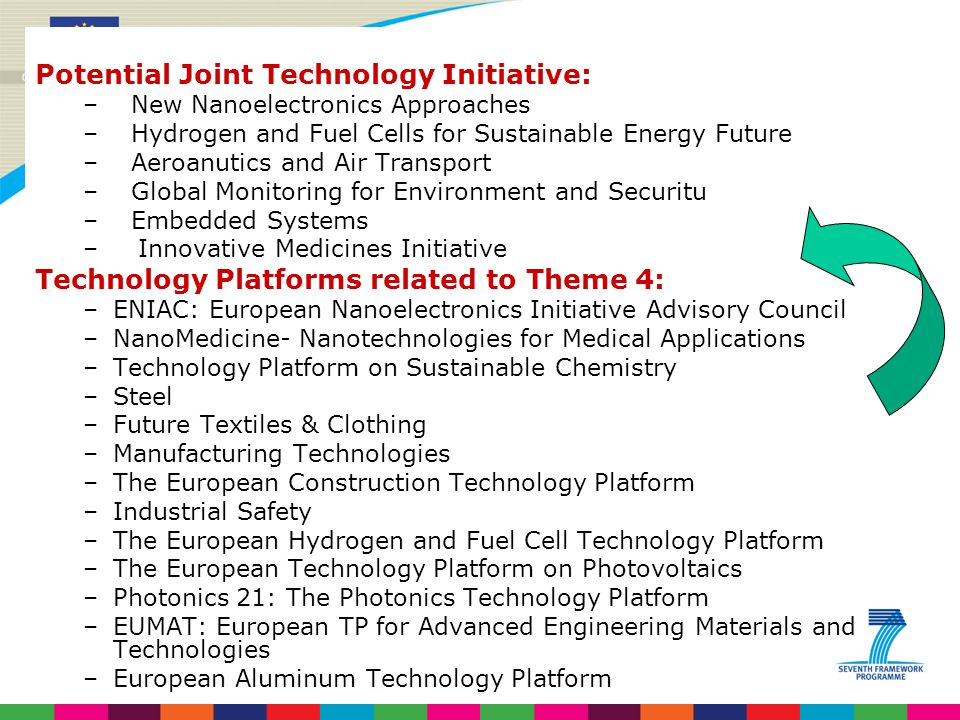 Potential Joint Technology Initiative: –New Nanoelectronics Approaches –Hydrogen and Fuel Cells for Sustainable Energy Future –Aeroanutics and Air Tra