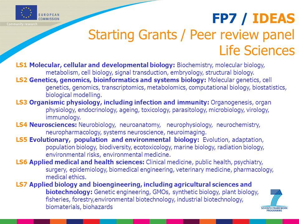 FP7 / IDEAS Starting Grants / Peer review panel Life Sciences LS1 Molecular, cellular and developmental biology: Biochemistry, molecular biology, meta