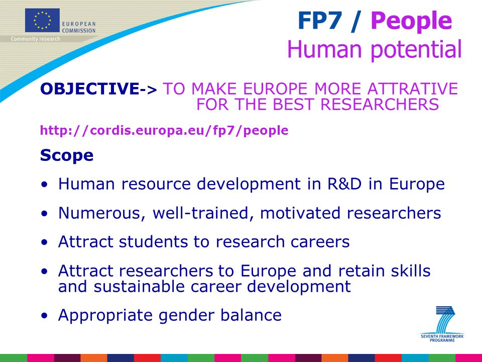 OBJECTIVE -> TO MAKE EUROPE MORE ATTRATIVE FOR THE BEST RESEARCHERS http://cordis.europa.eu/fp7/people Scope Human resource development in R&D in Euro