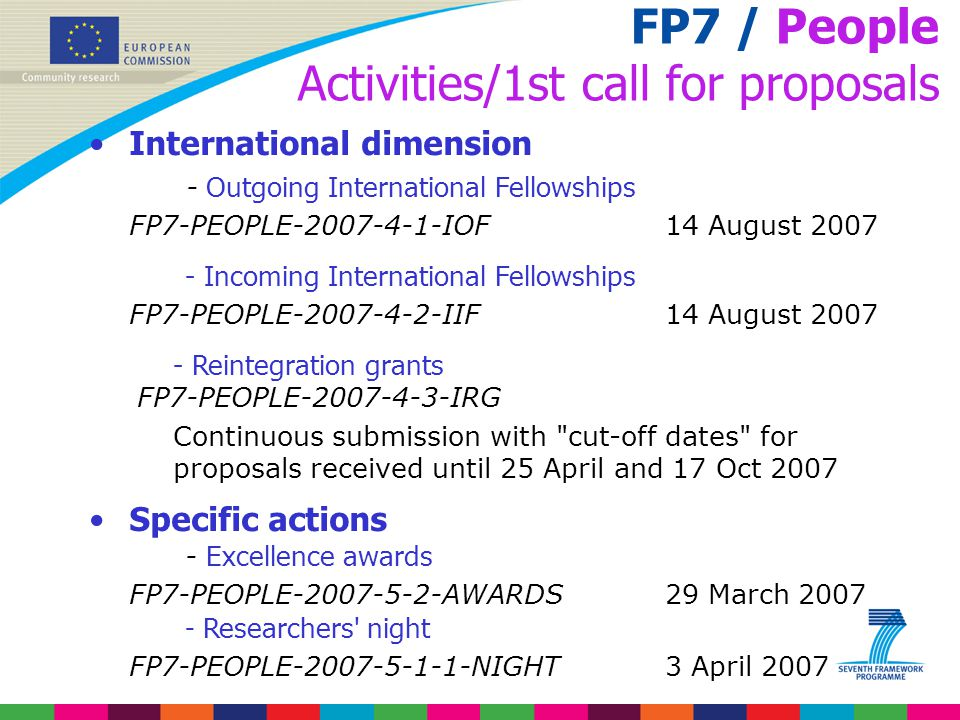 FP7 / People Activities/1st call for proposals International dimension - Outgoing International Fellowships FP7-PEOPLE-2007-4-1-IOF 14 August 2007 - I