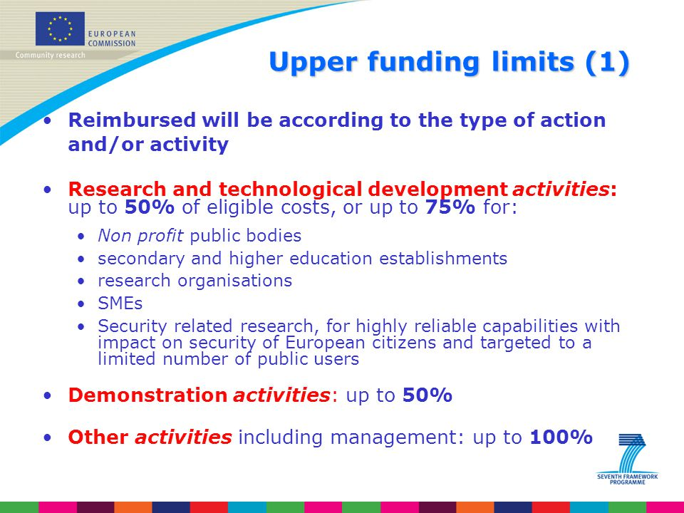 Upperfunding limits (1) Upper funding limits (1) Reimbursed will be according to the type of action and/or activity Research and technological develop