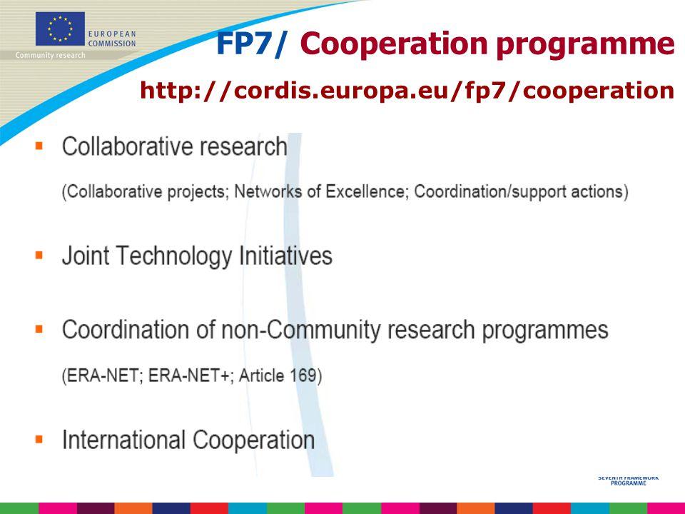 FP7/ Cooperation programme http://cordis.europa.eu/fp7/cooperation