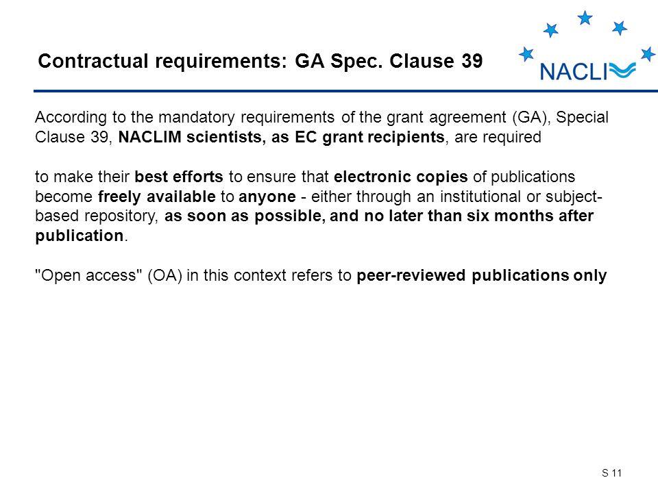S 11 Contractual requirements: GA Spec.