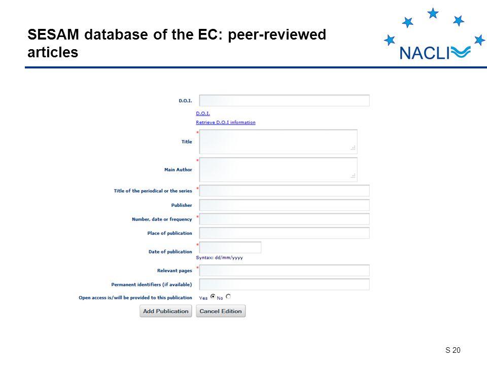 S 20 SESAM database of the EC: peer-reviewed articles