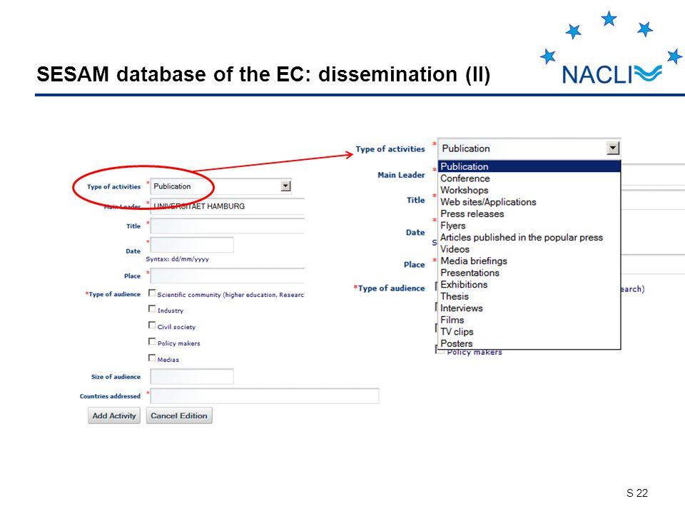 S 22 SESAM database of the EC: dissemination (II)
