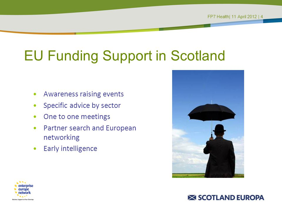 EU Funding Support in Scotland Awareness raising events Specific advice by sector One to one meetings Partner search and European networking Early int
