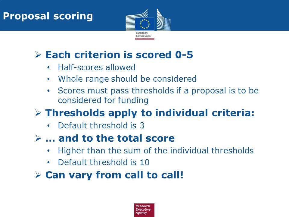 Proposal scoring  Each criterion is scored 0-5 Half-scores allowed Whole range should be considered Scores must pass thresholds if a proposal is to b