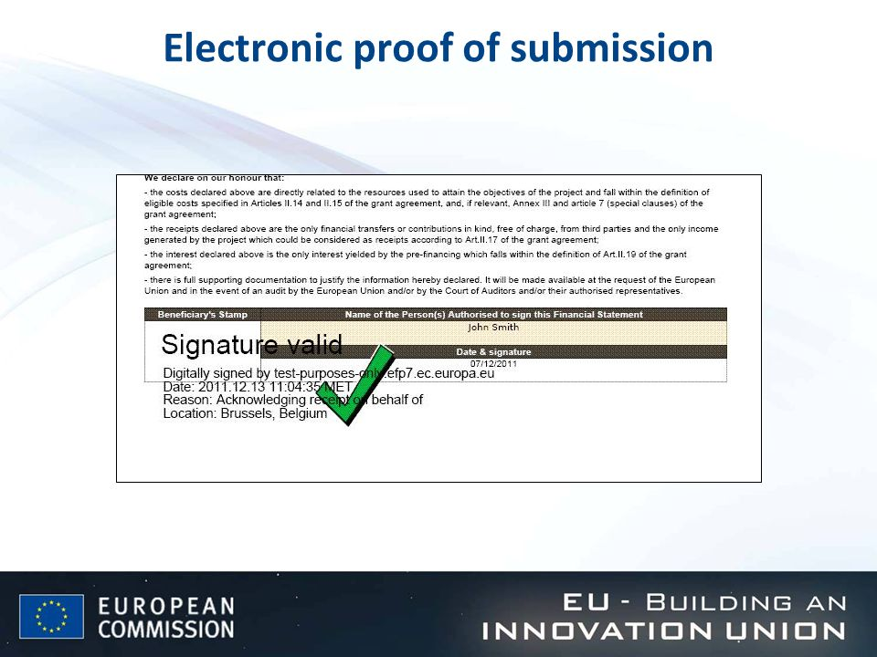 Electronic proof of submission