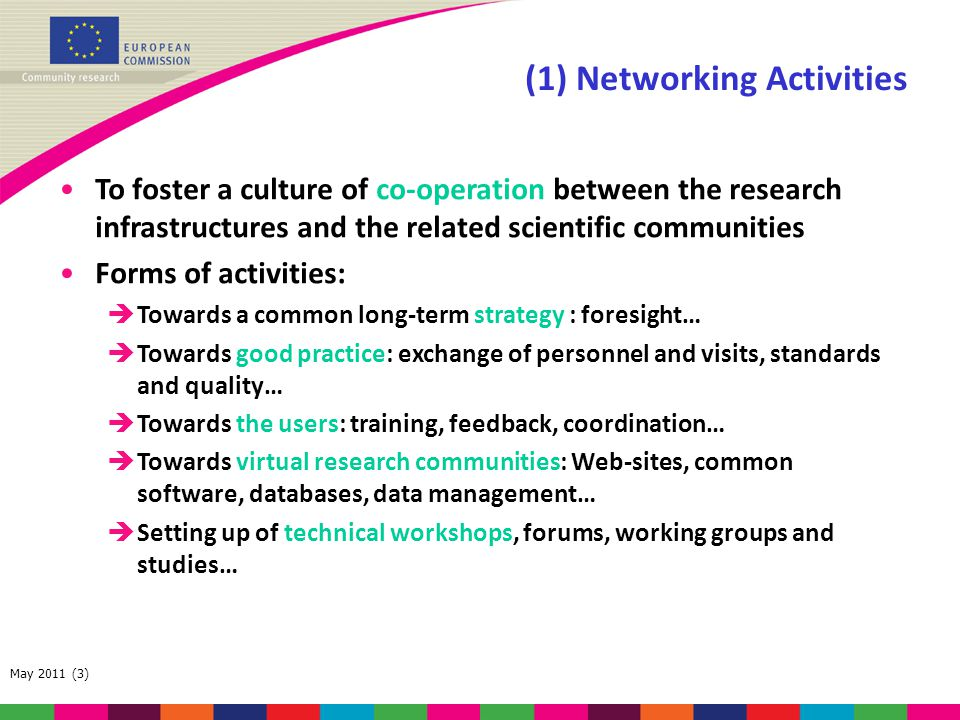 May 2011 (3) (1) Networking Activities To foster a culture of co-operation between the research infrastructures and the related scientific communities