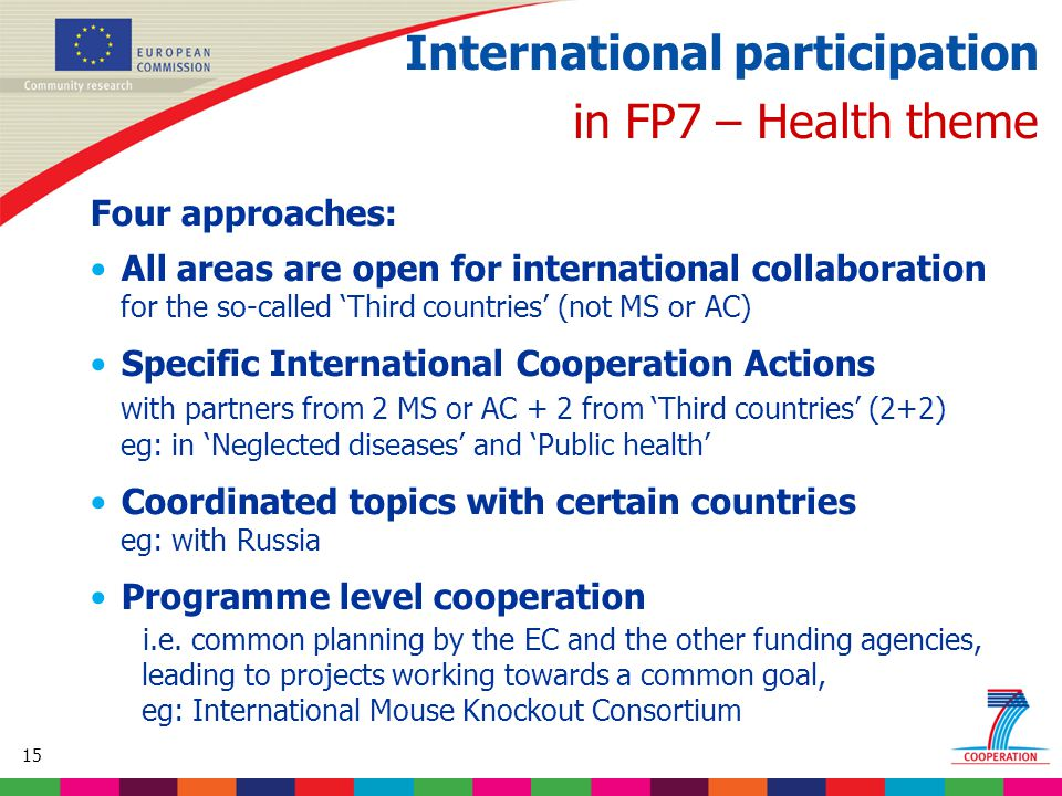 15 Based on proposed draft work programme prior to final consultations International participation in FP7 – Health theme Four approaches: All areas are open for international collaboration for the so-called 'Third countries' (not MS or AC) Specific International Cooperation Actions with partners from 2 MS or AC + 2 from 'Third countries' (2+2) eg: in 'Neglected diseases' and 'Public health' Coordinated topics with certain countries eg: with Russia Programme level cooperation i.e.