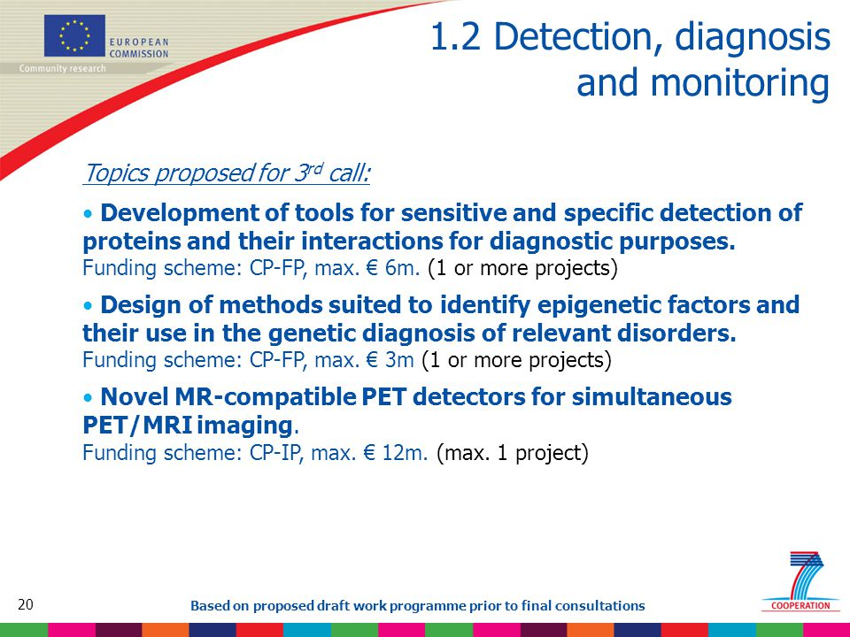 20 Based on proposed draft work programme prior to final consultations 1.2 Detection, diagnosis and monitoring Topics proposed for 3 rd call: Development of tools for sensitive and specific detection of proteins and their interactions for diagnostic purposes.