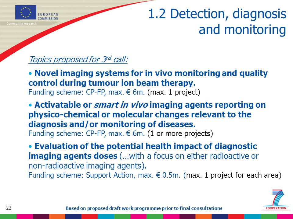 22 Based on proposed draft work programme prior to final consultations 1.2 Detection, diagnosis and monitoring Topics proposed for 3 rd call: Novel imaging systems for in vivo monitoring and quality control during tumour ion beam therapy.