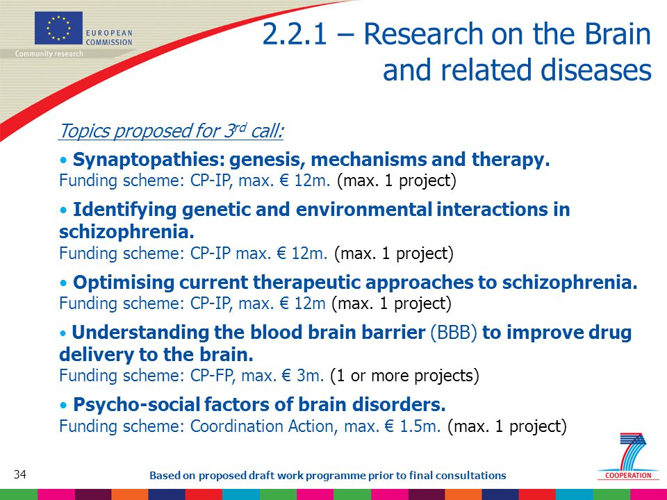 34 Based on proposed draft work programme prior to final consultations 2.2.1 – Research on the Brain and related diseases Topics proposed for 3 rd call: Synaptopathies: genesis, mechanisms and therapy.