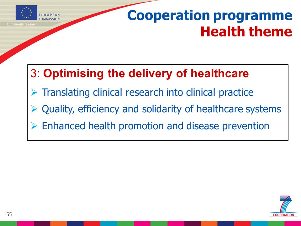 55 Based on proposed draft work programme prior to final consultations Cooperation programme Health theme 3: Optimising the delivery of healthcare  Translating clinical research into clinical practice  Quality, efficiency and solidarity of healthcare systems  Enhanced health promotion and disease prevention