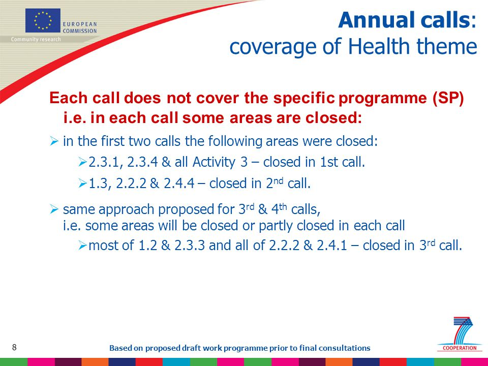 8 Based on proposed draft work programme prior to final consultations Annual calls: coverage of Health theme Each call does not cover the specific programme (SP) i.e.