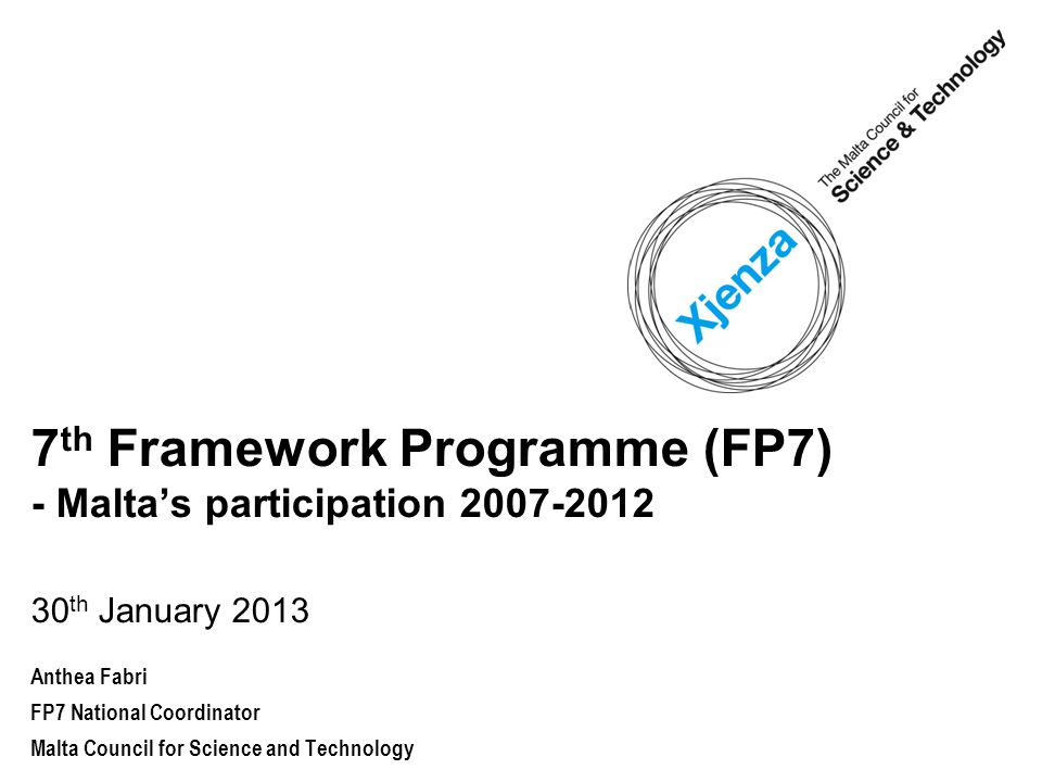 7 th Framework Programme (FP7) The EU's main instrument to fund research and technological development.