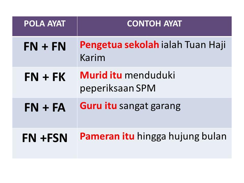 POLA AYATCONTOH AYAT FN + FN Pengetua sekolah ialah Tuan Haji Karim FN + FK Murid itu menduduki peperiksaan SPM FN + FA Guru itu sangat garang FN +FSN Pameran itu hingga hujung bulan