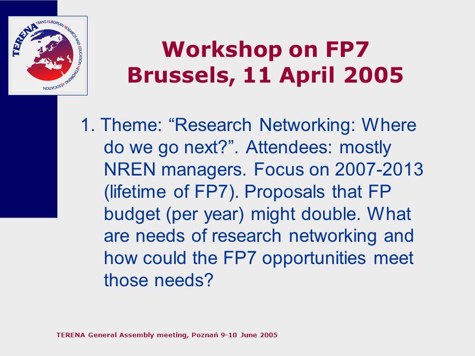 TERENA General Assembly meeting, Poznań 9-10 June 2005 Workshop on FP7 Brussels, 11 April 2005 2.