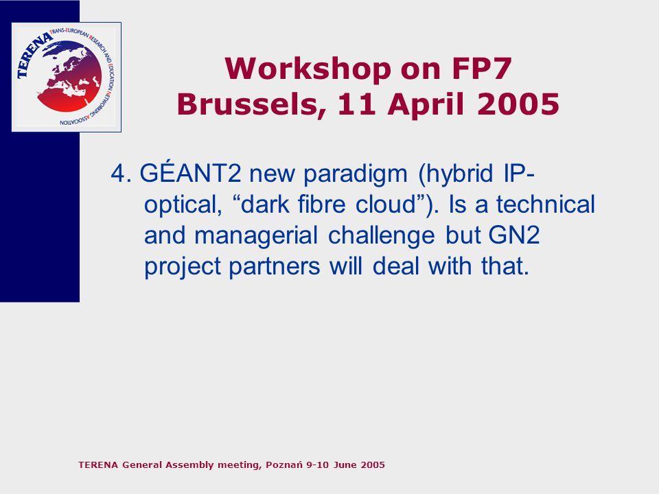 TERENA General Assembly meeting, Poznań 9-10 June 2005 Workshop on FP7 Brussels, 11 April 2005 5.