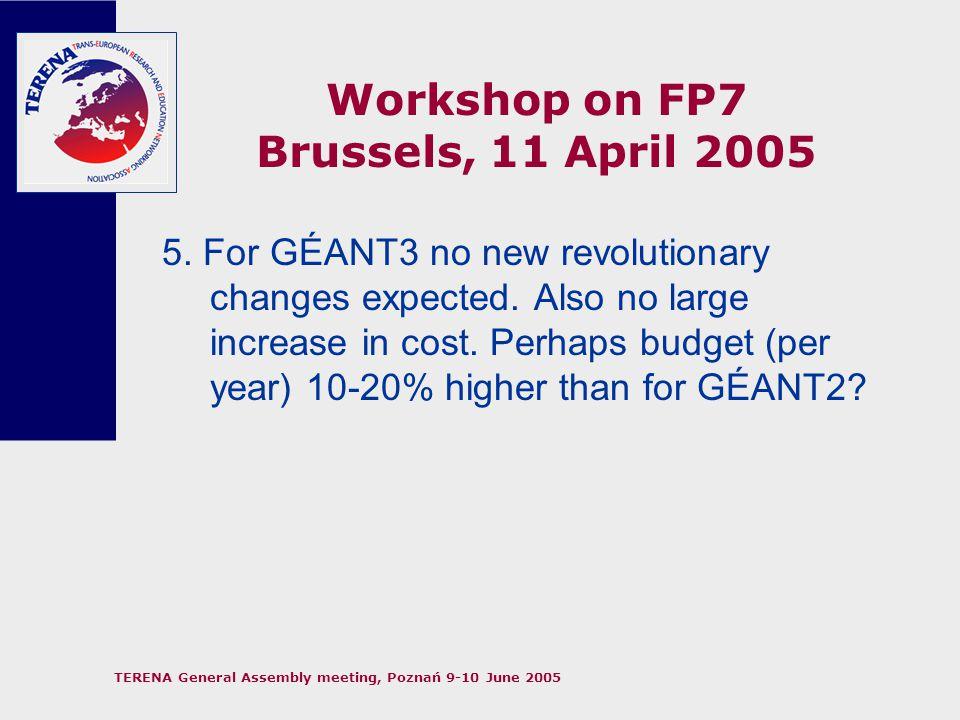 TERENA General Assembly meeting, Poznań 9-10 June 2005 Workshop on FP7 Brussels, 11 April 2005 6.
