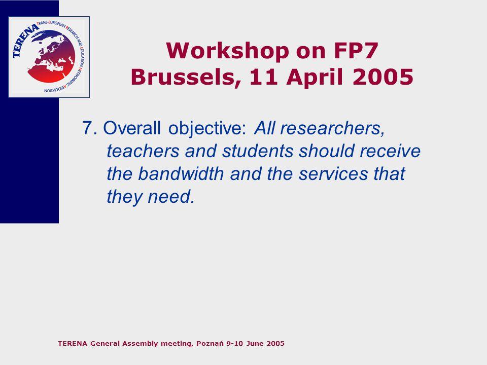 TERENA General Assembly meeting, Poznań 9-10 June 2005 Workshop on FP7 Brussels, 11 April 2005 8.