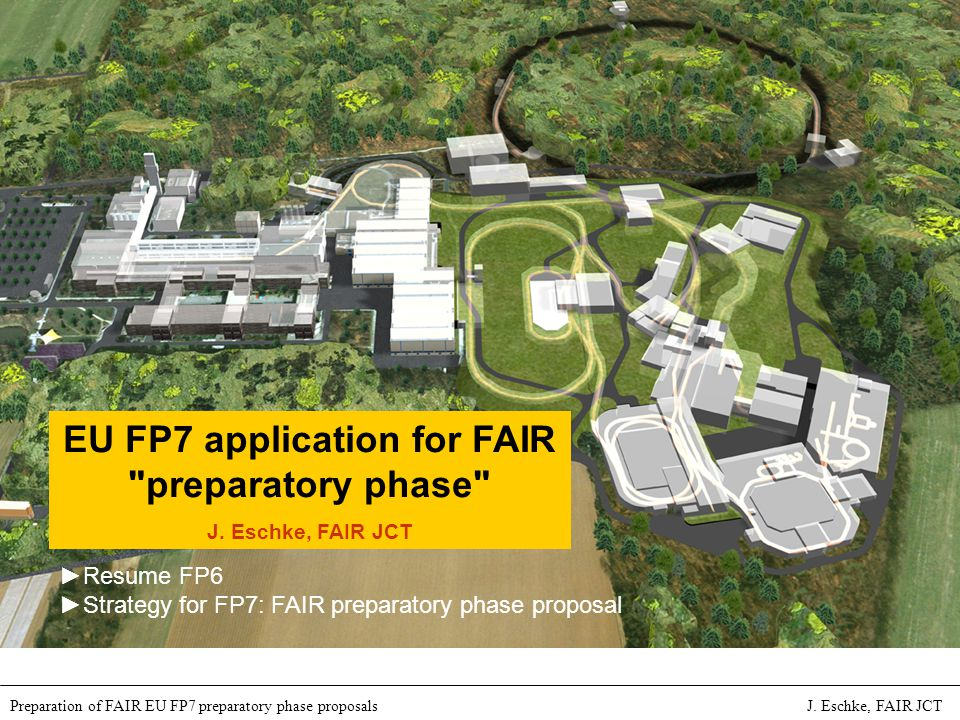 International Accelerator Facility for Beams of Ions and Antiprotons at Darmstadt Preparation of FAIR EU FP7 preparatory phase proposals J.