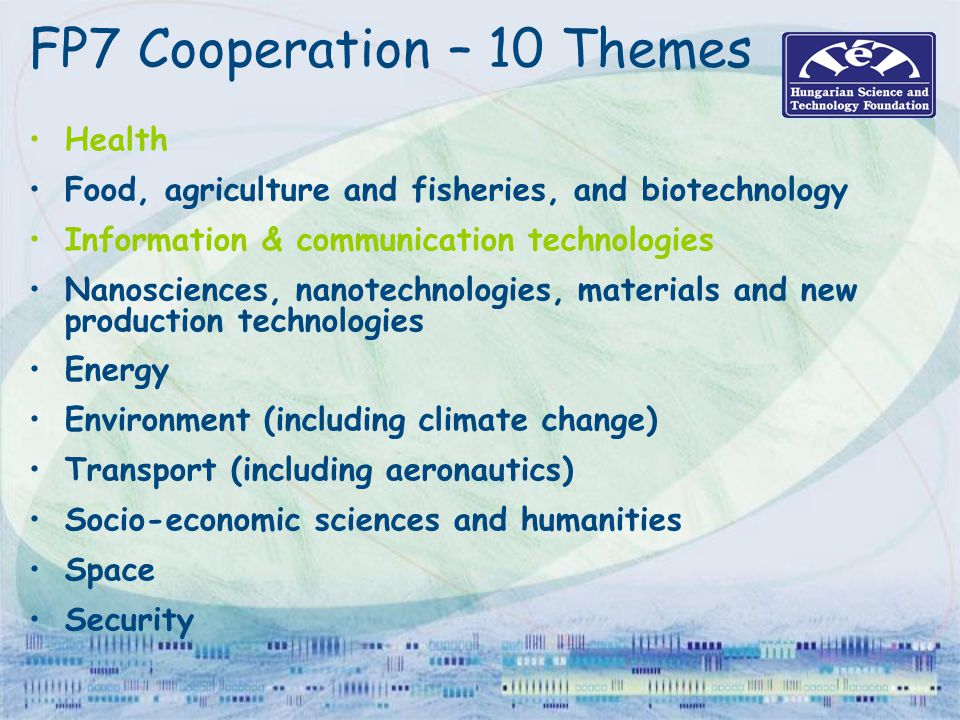 FP7 Cooperation – 10 Themes Health Food, agriculture and fisheries, and biotechnology Information & communication technologies Nanosciences, nanotechn