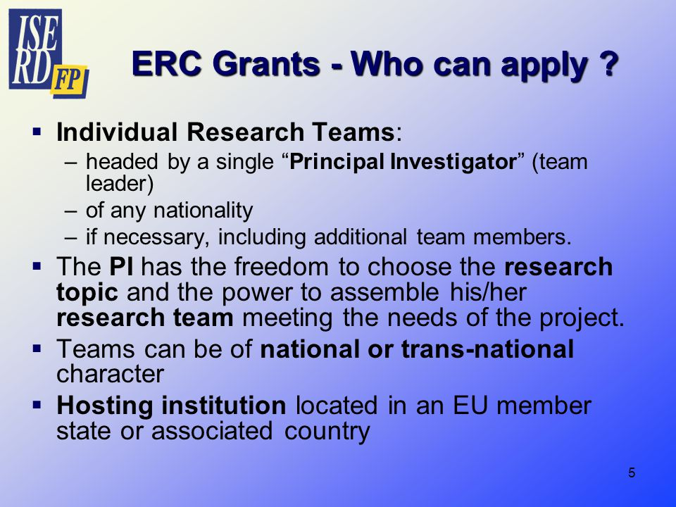 5 ERC Grants - Who can apply .