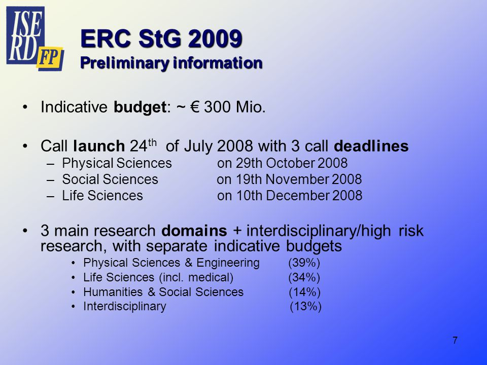 7 ERC StG 2009 Preliminary information Indicative budget: ~ € 300 Mio.