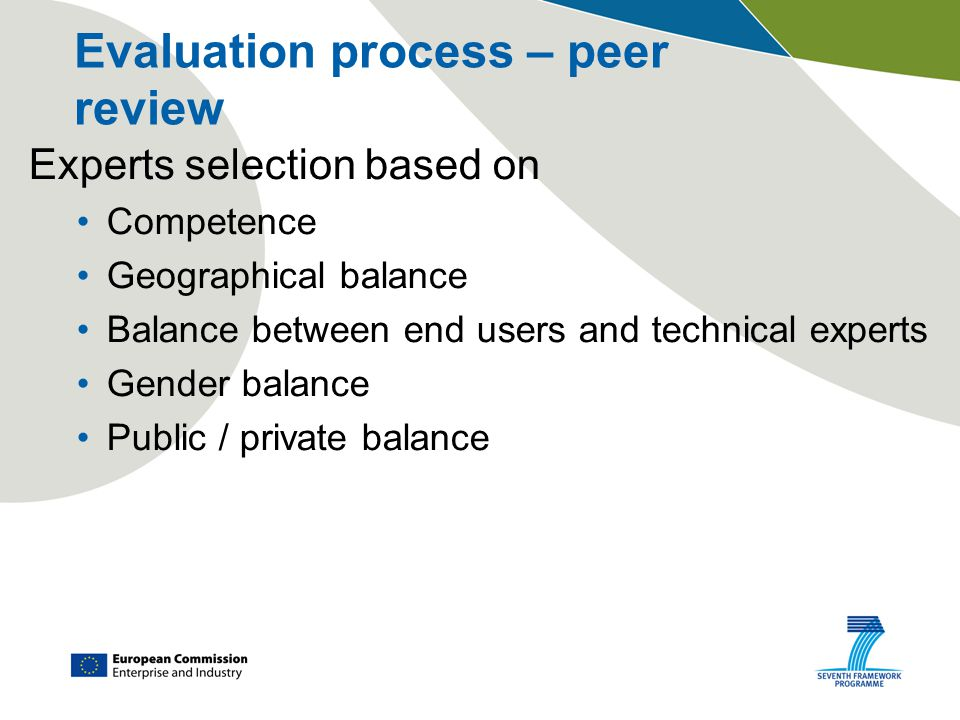 Evaluation process – peer review Experts selection based on Competence Geographical balance Balance between end users and technical experts Gender bal
