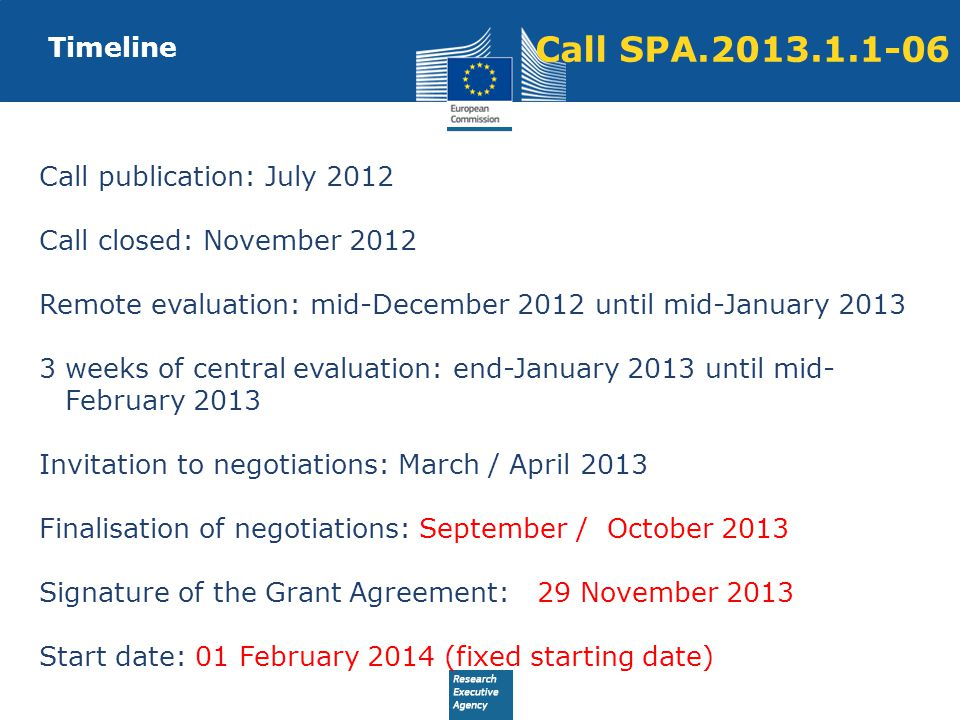 Timeline Call publication: July 2012 Call closed: November 2012 Remote evaluation: mid-December 2012 until mid-January 2013 3 weeks of central evaluation: end-January 2013 until mid- February 2013 Invitation to negotiations: March / April 2013 Finalisation of negotiations: September / October 2013 Signature of the Grant Agreement: 29 November 2013 Start date: 01 February 2014 (fixed starting date) Call SPA.2013.1.1-06