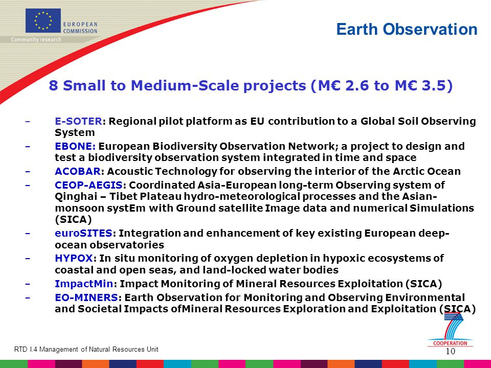 10 RTD I.4 Management of Natural Resources Unit Earth Observation 8 Small to Medium-Scale projects (M€ 2.6 to M€ 3.5) –E-SOTER: Regional pilot platfor