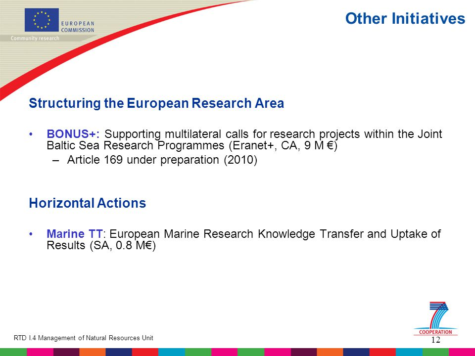 12 RTD I.4 Management of Natural Resources Unit Other Initiatives Structuring the European Research Area BONUS+: Supporting multilateral calls for res