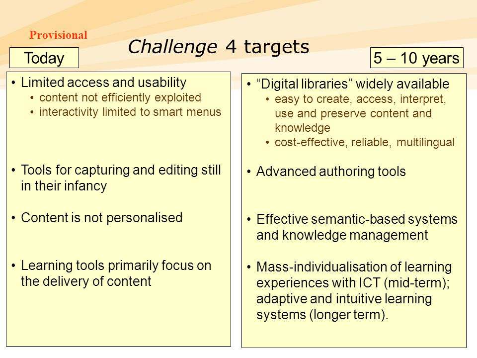 Provisional FP7-ICT-InfoDay, Torino, 11/12/2006 22 Challenge 4 targets Limited access and usability content not efficiently exploited interactivity li
