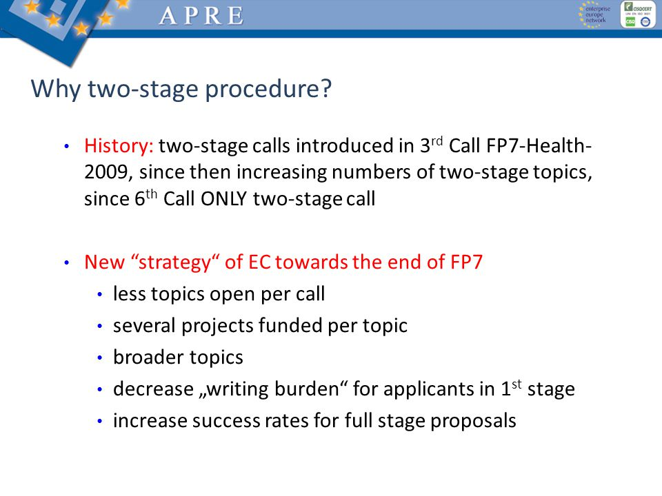 Why two-stage procedure.