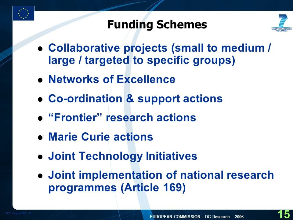 FP7 - August EUROPEAN COMMISSION – DG Research – Funding Schemes l Collaborative projects (small to medium / large / targeted to specific groups) l Networks of Excellence l Co-ordination & support actions l Frontier research actions l Marie Curie actions l Joint Technology Initiatives l Joint implementation of national research programmes (Article 169)