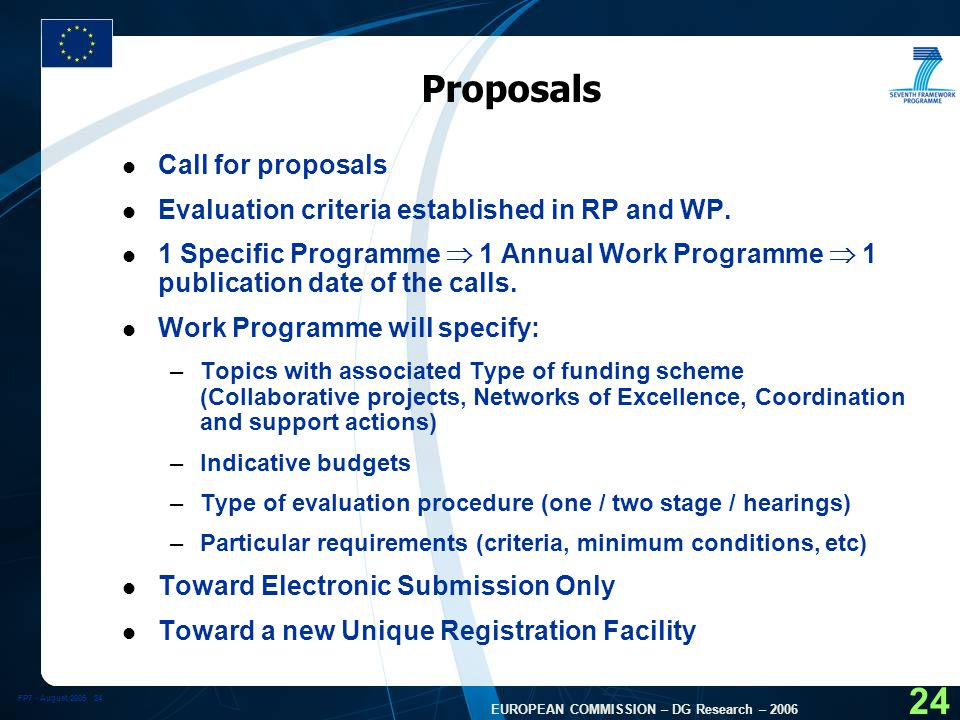 FP7 - August EUROPEAN COMMISSION – DG Research – Proposals l Call for proposals l Evaluation criteria established in RP and WP.