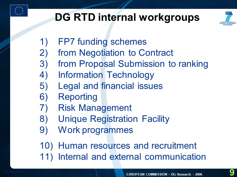 FP7 - August 2005 10 EUROPEAN COMMISSION – DG Research – 2006 10 Derived Documents (2) l Guide for Applicants, including the proposal submission forms (several versions: generic, Marie Curie, Infrastructure actions, SME actions, ERC) l Rules for Proposals submission, Evaluation, Selection and Award procedures (standard and ERC) l Grand agreements (special Annexes: SMEs, NoEs, Infrastructure, Eranet+, lump sum version): three sets of documents (standard, ERC, Marie Curie) l Rules of verification of legal status and financial viability l Modalities for lump sums for IPCP l Negotiation guidelines notes, including grand agreement preparation forms (special Annexes: SMEs, NoEs, Infrastructure, Eranet+): l FP7 financial guidelines l Check list for consortium agreement l IPR guidelines l Reporting guidelines l Implementation modalities of guarantee fund