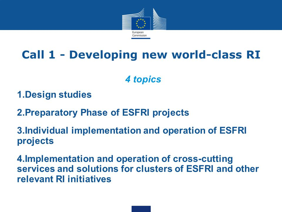 Call 1 - Developing new world-class RI 4 topics 1.Design studies 2.Preparatory Phase of ESFRI projects 3.Individual implementation and operation of ES