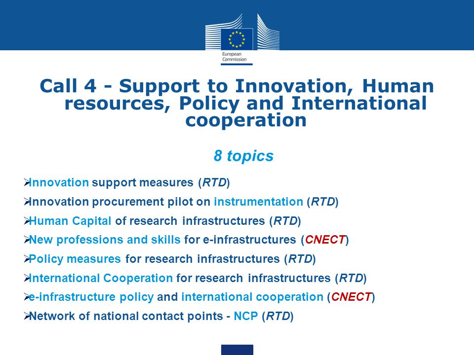 Call 4 - Support to Innovation, Human resources, Policy and International cooperation 8 topics  Innovation support measures (RTD)  Innovation procur
