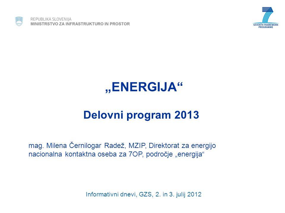 Pregled po področjih in razpisih Low/Medium Temperature Solar Thermal Energy Topic ENERGY.2013.4.1.1: Research and development of innovative solar thermal facades - FP7-ENERGY- 2013-1