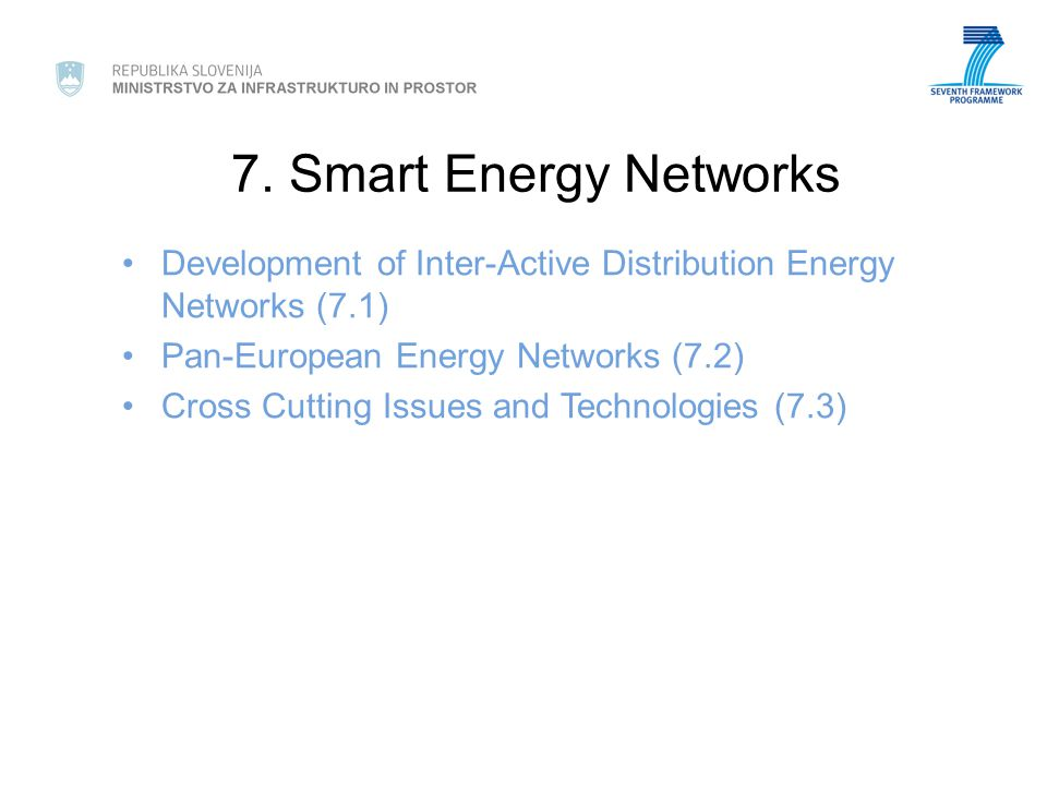 7. Smart Energy Networks Development of Inter-Active Distribution Energy Networks (7.1) Pan-European Energy Networks (7.2) Cross Cutting Issues and Te