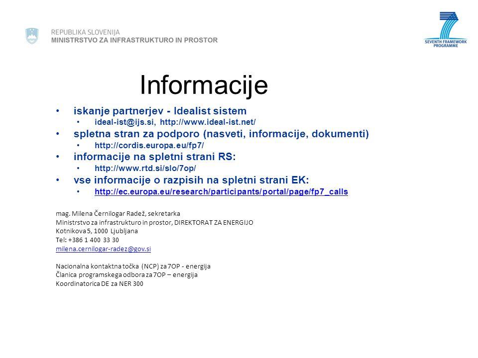 Informacije iskanje partnerjev - Idealist sistem ideal-ist@ijs.si, http://www.ideal-ist.net/ spletna stran za podporo (nasveti, informacije, dokumenti) http://cordis.europa.eu/fp7/ informacije na spletni strani RS: http://www.rtd.si/slo/7op/ vse informacije o razpisih na spletni strani EK: http://ec.europa.eu/research/participants/portal/page/fp7_calls mag.